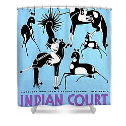 Antelope Hunt From A Navaho Drawing Exhibition - Vintage Poster Restored Shower Curtain