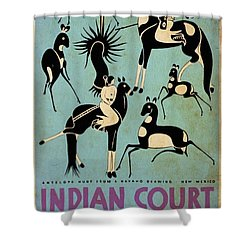 Antelope Hunt From A Navaho Drawing Exhibition - Vintage Poster Vintagelized Shower Curtain