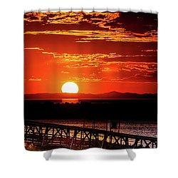 Antelope Island Marina Sunset Shower Curtain