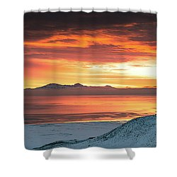 Shower Curtain featuring the photograph Antelope Island Sunset by Bryan Carter