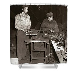 Anthracite Coal Artist  Charles Edgar Patience On Right  1906-1972 In Studio 1953    Shower Curtain