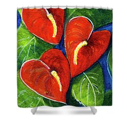 Anthurium Flowers #272 Shower Curtain by Donald k Hall