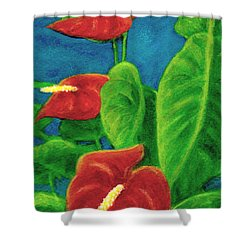 Anthurium Flowers #296 Shower Curtain by Donald k Hall