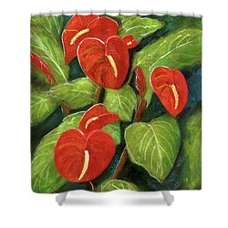 Anthurium Flowers #231 Shower Curtain by Donald k Hall