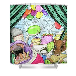Anti Social Warthog Throws A Party Shower Curtain