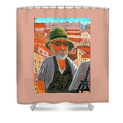 Shower Curtain featuring the painting Antibes Self by Gary Coleman