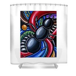 Antics - Abstract Ant Painting - Chromatic Acrylic Art - Ai P. Nilson Shower Curtain