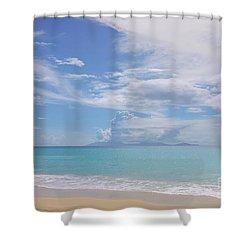 Antigua Beach View Of Montserrat Volcano Shower Curtain