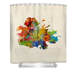 Antigua Watercolor Map Shower Curtain