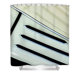 Shower Curtain featuring the photograph Antique Auto Running Board And Reflection by Gary Slawsky