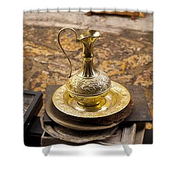 Antique Brass Pitcher Shower Curtain by Rae Tucker