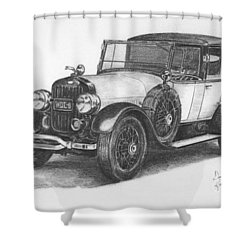 Antique Car -pencil Study Shower Curtain