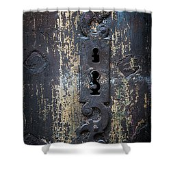 Shower Curtain featuring the photograph Antique Door Lock Detail by Elena Elisseeva