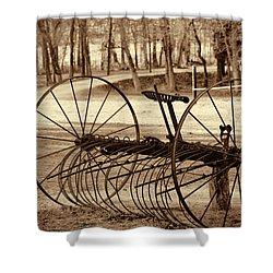 Antique Farm Rake In Sepia Shower Curtain