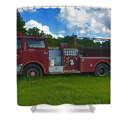 Antique Fire Truck Shower Curtain by Ronald Olivier