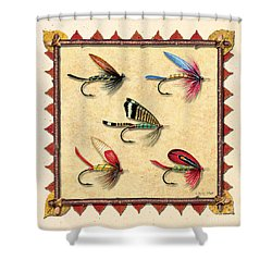 Antique Fly Panel Creme Shower Curtain