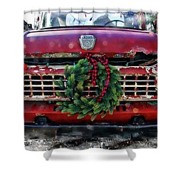 Antique Ford Christmas Shower Curtain