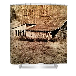 Antique Log Beam Barn Southern Indiana Shower Curtain by Scott D Van Osdol