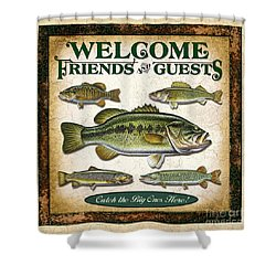 Antique Lure Fish Panel Three Shower Curtain