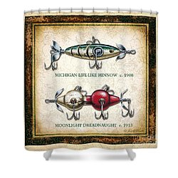 Antique Lure Panel Two Shower Curtain
