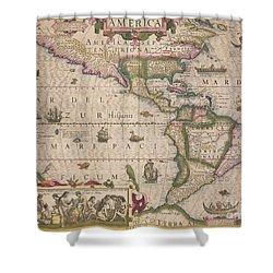 Antique Map Of America Shower Curtain by Jodocus Hondius
