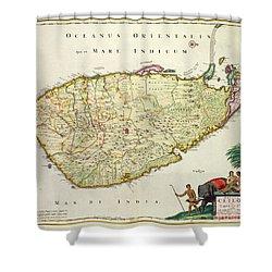 Antique Map Of Ceylon Shower Curtain by Nicolas Visscher