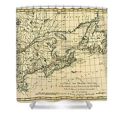 Antique Map Of Eastern Canada Shower Curtain by Guillaume Raynal
