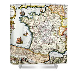 Antique Map Of France Shower Curtain by French School
