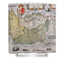 Antique Map Of Ireland Shower Curtain by  English School