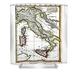 Antique Map Of Italy From 1820 Shower Curtain by Phil Cardamone
