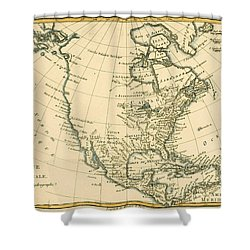 Antique Map Of North America Shower Curtain by Guillaume Raynal