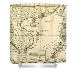 Antique Map Of South East Asia Shower Curtain by Guillaume Raynal
