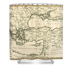 Antique Map Of Turkey Shower Curtain by Guillaume Raynal