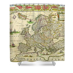 Antique Maps Of The World Map Of Europe Willem Blaeu C 1650 Shower Curtain