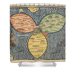 Antique Maps - Old Cartographic Maps - Antique Clover Leaf Map Of Europe, Asia And Africa Shower Curtain
