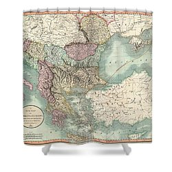 Antique Maps - Old Cartographic Maps - Antique Map Of Turkey In Europe, Greece And The Balkans, 1801 Shower Curtain