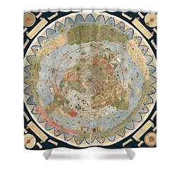 Antique Maps - Old Cartographic Maps - Flat Earth Map - Map Of The World Shower Curtain