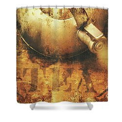 Antique Old Tea Metal Sign. Rusted Drinks Artwork Shower Curtain