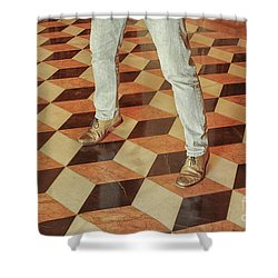 Shower Curtain featuring the photograph Antique Optical Illusion Floor Tiles by Patricia Hofmeester