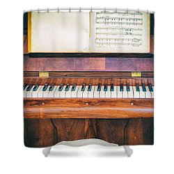 Shower Curtain featuring the photograph Antique Piano And Music Sheet by Silvia Ganora