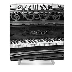 Antique Piano Black And White Shower Curtain