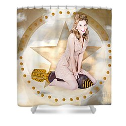 Antique Pin-up Girl On Missile. Bombshell Blond Shower Curtain by Jorgo Photography - Wall Art Gallery