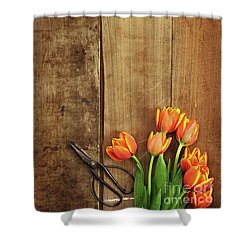 Shower Curtain featuring the photograph Antique Scissors And Tulips by Stephanie Frey