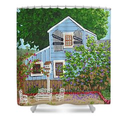 Shower Curtain featuring the painting Antique Shop, Cambria Ca by Katherine Young-Beck