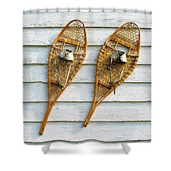Shower Curtain featuring the photograph Antique Snowshoes On The Wall by Gary Slawsky