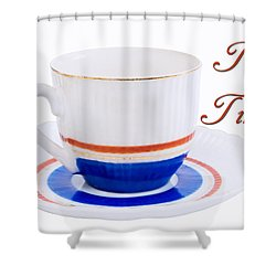Antique Teacup From Japan With Tea Time Invitation Shower Curtain by Vizual Studio
