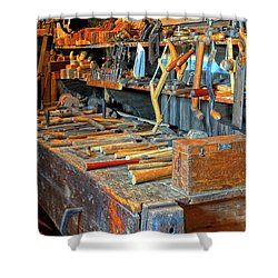Antique Tool Bench Shower Curtain by Dave Mills