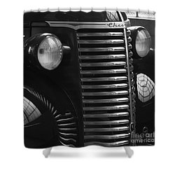 Antique Truck Black And White Shower Curtain