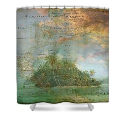 Shower Curtain featuring the photograph Antique Vintage Map Of North America Tropical Ocean by Debra and Dave Vanderlaan