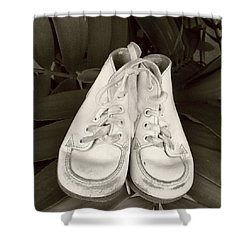 Antiqued Baby Shoes Shower Curtain by Ellen O'Reilly